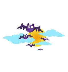 Halloween moon and bat vector image