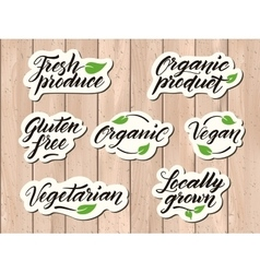 Hand drawn healthy food letterings label badge vector