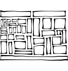 Hand-drawn rectangle and square shapes over white vector