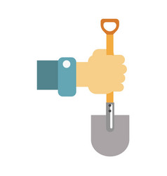 Hand with spade isolated on vector