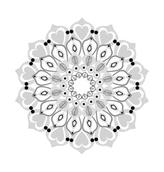intricate mandala with hearts icon vector image
