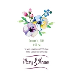 invitation card with watercolor elements vector image
