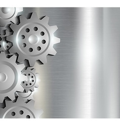 metal background with gears vector image