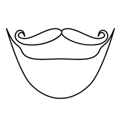 Mustache and beard icon outline style vector