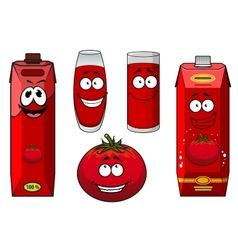 Natural tomato juice cartoon characters vector image vector image