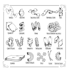 Pasta spaghetti macaroni isolated sketch icons vector