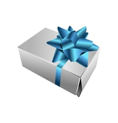realistic gift box with bow vector image vector image