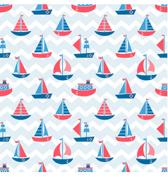 seamless pattern with boats vector image vector image