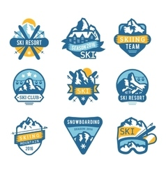 Ski resort logo emblems labels badges vector