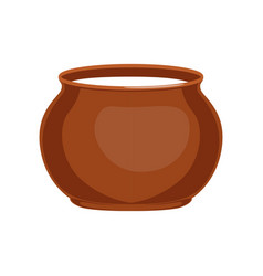 Sour cream in clay pot fresh and healthy dairy vector