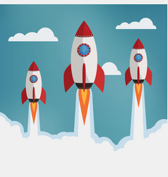 three rockets in the clouds vector image vector image