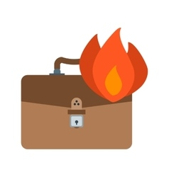 Briefcase on fire vector