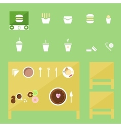 Food icons set fastfood and tradition dishes vector