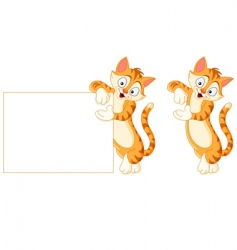 cat holding blank sign vector image