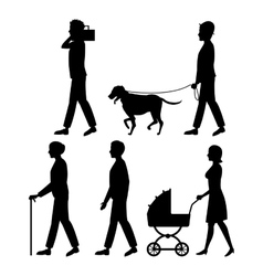 Set people walk silhouette pet listen music vector