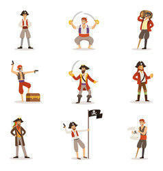 Pirate sailors with classic filibusterer vector