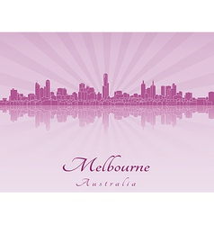 Melbourne skyline in purple radiant orchid vector image