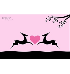 image of deer and heart vector image