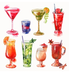 Set of watercolor cocktails vector