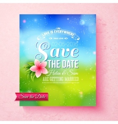 Fresh colorful spring save the date template vector