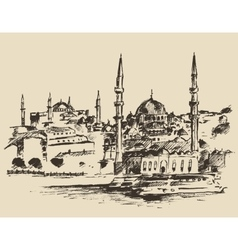 Istanbul turkey vintage engraved sketch vector