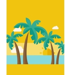 Tropical beach with cloud and sunset vector