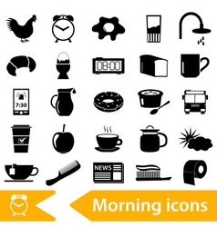 Morning wake up theme black icons set eps10 vector