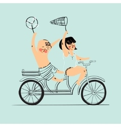 Two best friends ride on tandem bicycle flat vector