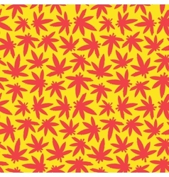Marihuana ganja weed seamless pattern red vector