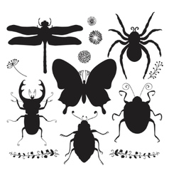 Collection of black hand drawn insect vector