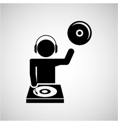 Dj icon silhouette design vector