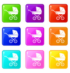baby carriage set 9 vector image vector image
