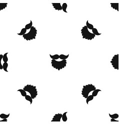 Beard and mustache pattern seamless black vector