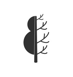 Black icon on white background tree in winter vector
