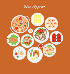 bon appetit food vector image vector image