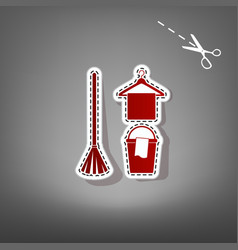 Broom bucket and hanger sign red icon vector