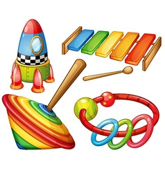Colorful wooden toys set vector image vector image