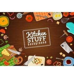 Cooking Background With Kitchen Stuff vector image vector image