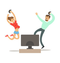 Couple with joysticks jumping winningpart of vector