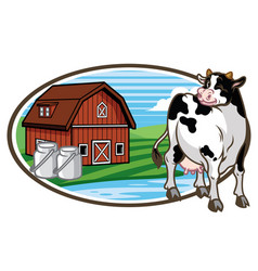cow and the farm land at the background vector image