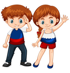 Cute boy and girl waving hands vector