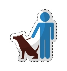 cute dog mascot with trainer isolated icon vector image vector image