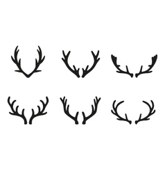 deer antlers black icons set vector image vector image