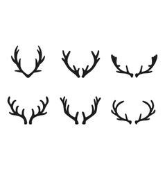 deer antlers black icons set vector image