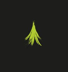 Evergreen coniferous green color needles tree vector