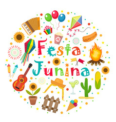 festa junina set of icons in a round shape vector image vector image