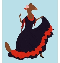 Flamenco dancer ferret in long dress vector
