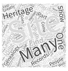 Genealogy web site word cloud concept vector
