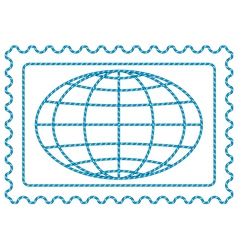 Globe on stamp vector