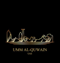 Gold silhouette of umm al-quwain on black vector